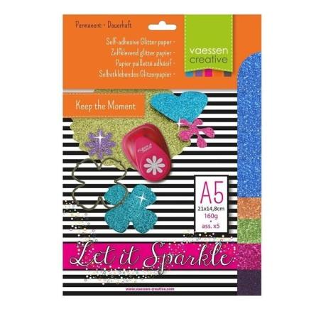 Pack papel adhesivo glitter A5 nº 5