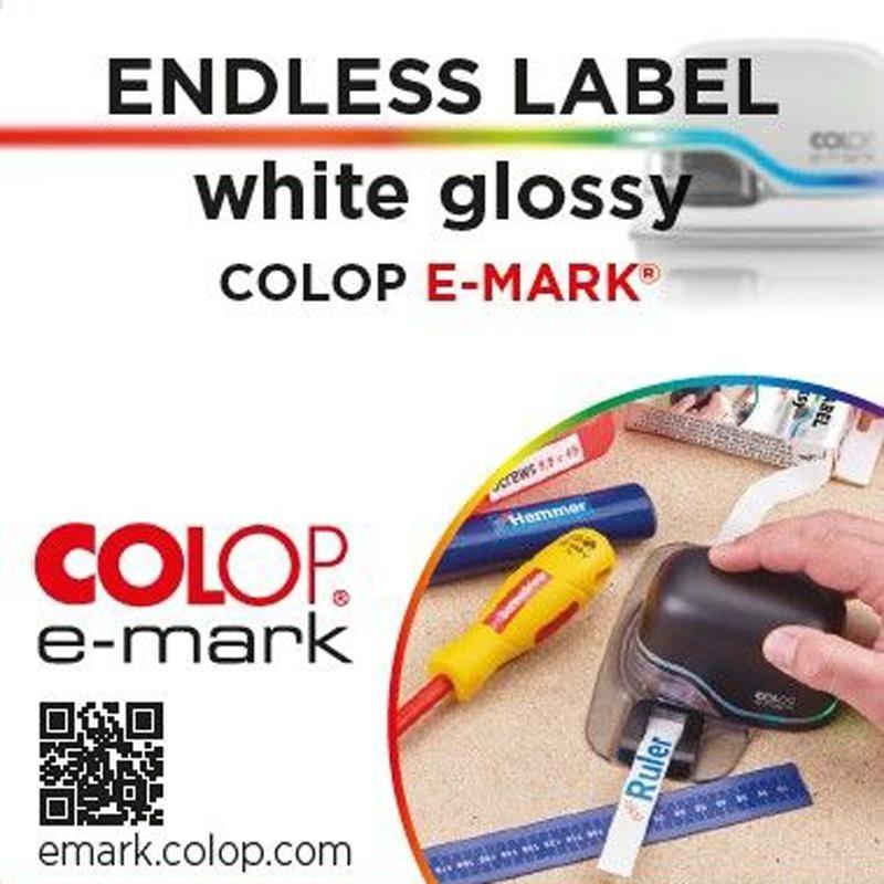 E-mark Etiquetas continuas blanco brillo 14mm x 8m