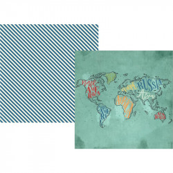 "Papel doble cara 12"" Travel notes- See the world"