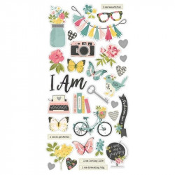 I Am Chipboard Stickers con rose gold foil