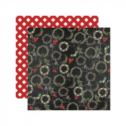 "Papel doble cara 12"" Chirstmas - Jolly Wreaths"