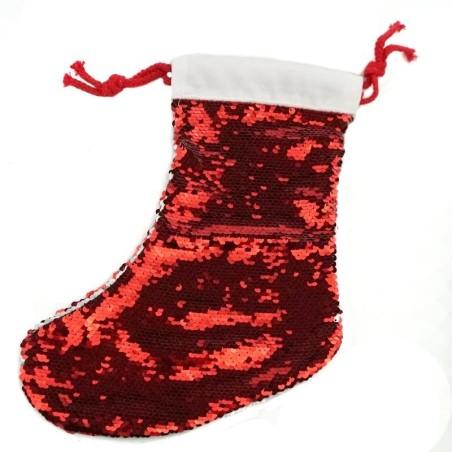 Bota navidad lentejuelas rojo sublimación