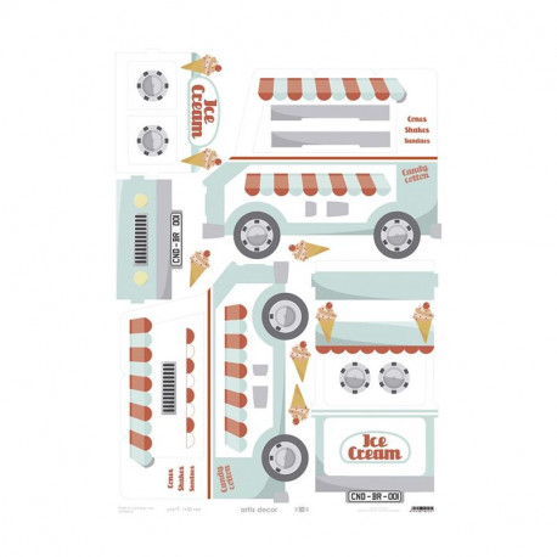 Papel cartonaje Furgo Ice cream van 50x70
