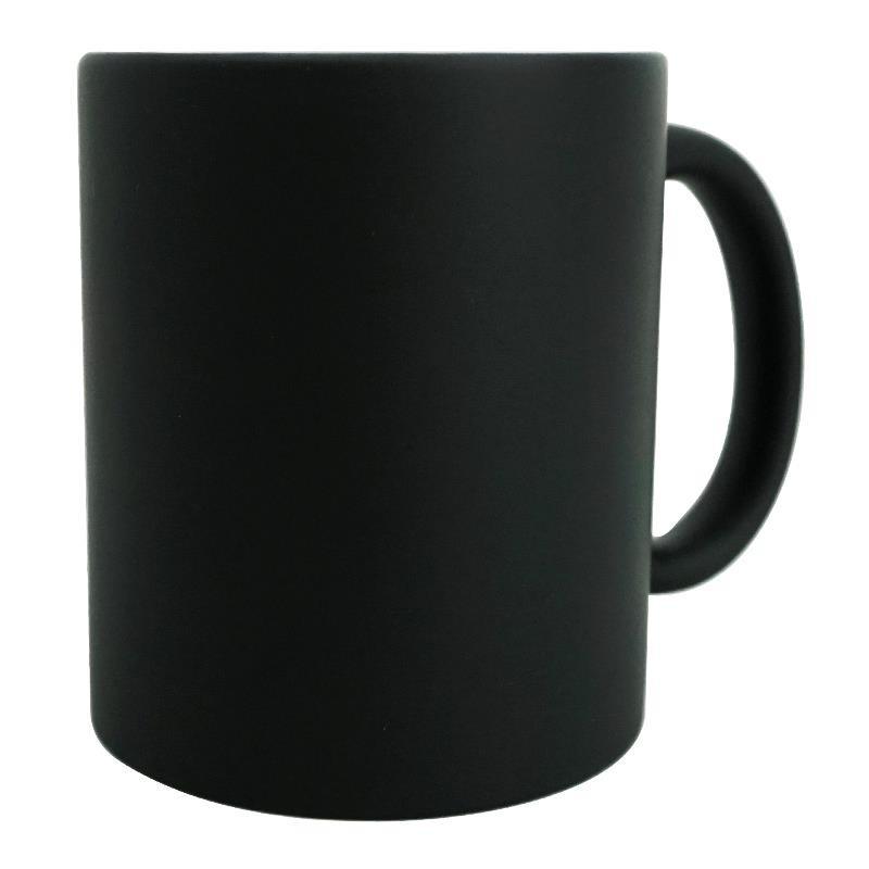 Taza ceramica magica negra mate con caja