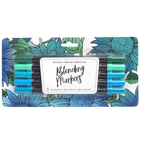 American Crafts Blending Markers 5pz BlueGreen