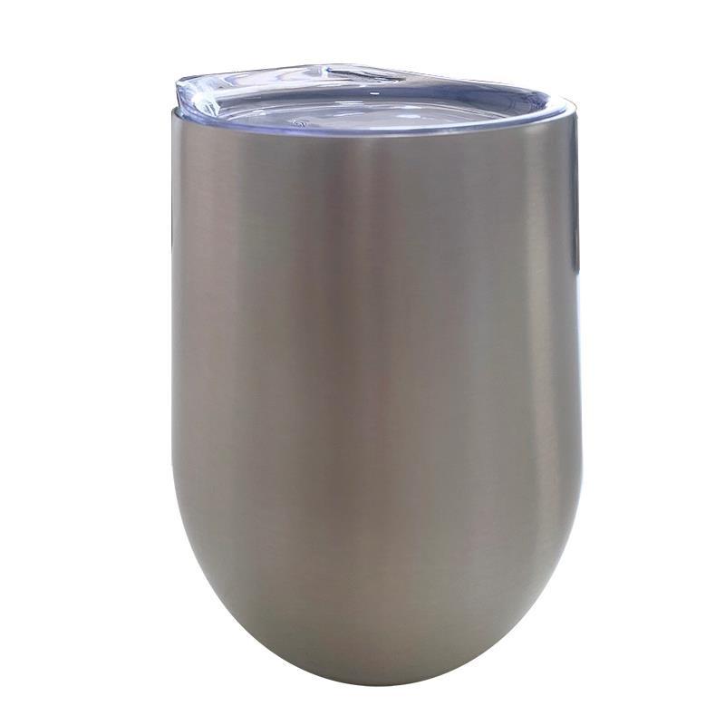 Taza de metal 12 OZ sin ASA con tapa plata mate